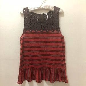 Free People Red & Brown Sleeveless top size Large